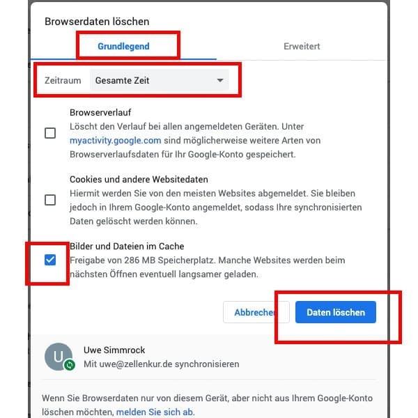 Schritt 2 Den Cache Google Chrome Browser löschen