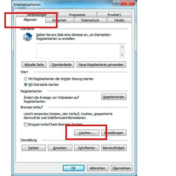 Wie sich beim Internet Explorer der Browser Cache löschen lässt