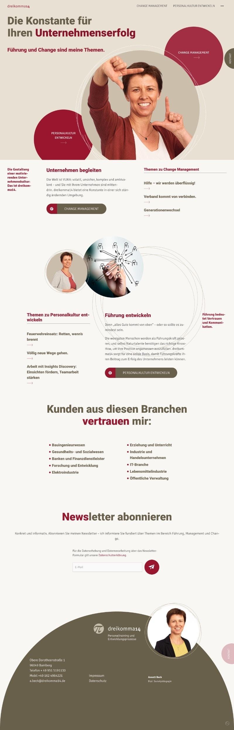 Webedesign für die Unternehmens-Beraterin Annett Beck - dreikomma14.de