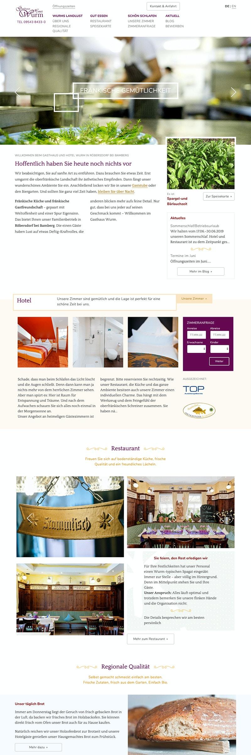 Hotel- und Gastronomie Webseite mit Workflow für Reservierungsanfragen