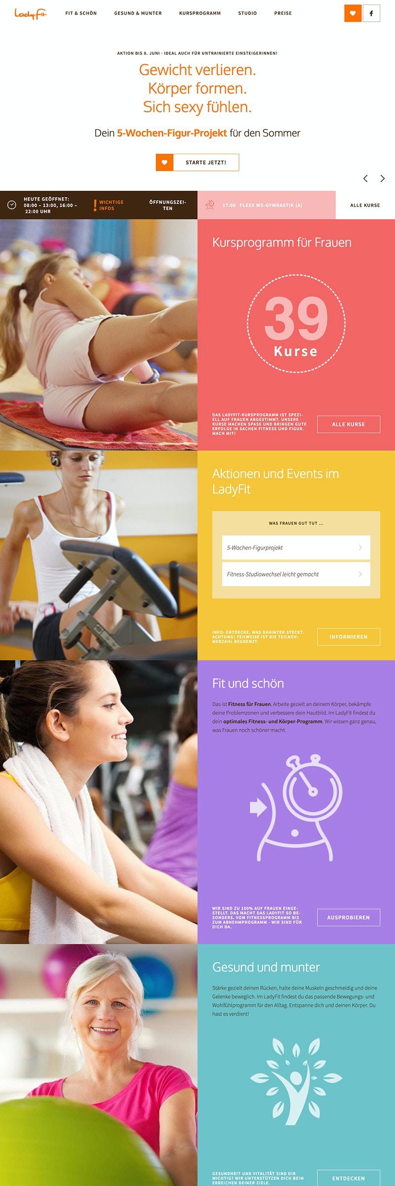 Webseite für Fitnessstudios mit aktueller Kursübersicht
