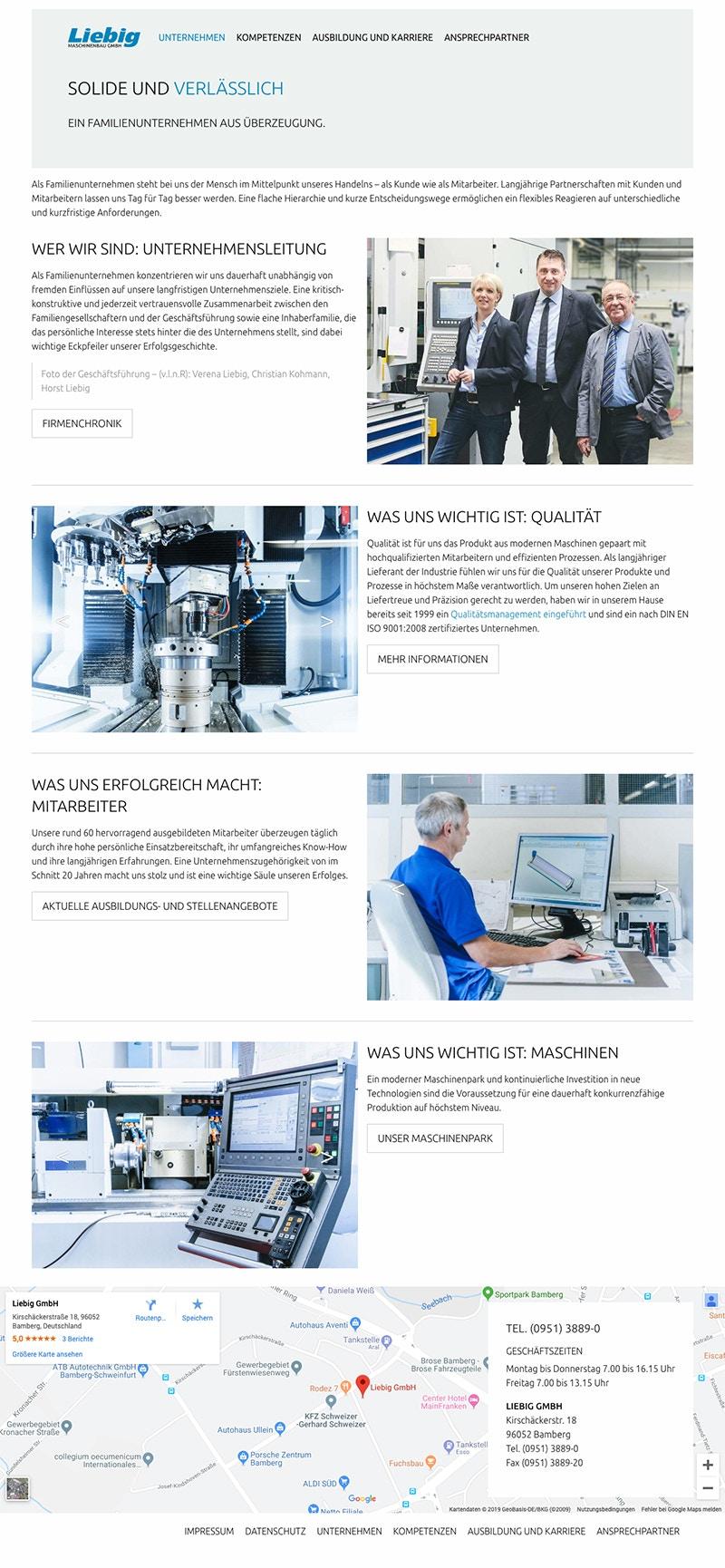 Webdesign für mittelständisches Unternehmen Maschinenbau