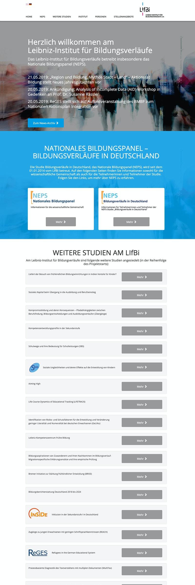 Design-Konzept der Webseite eines Forschungsinstitutes