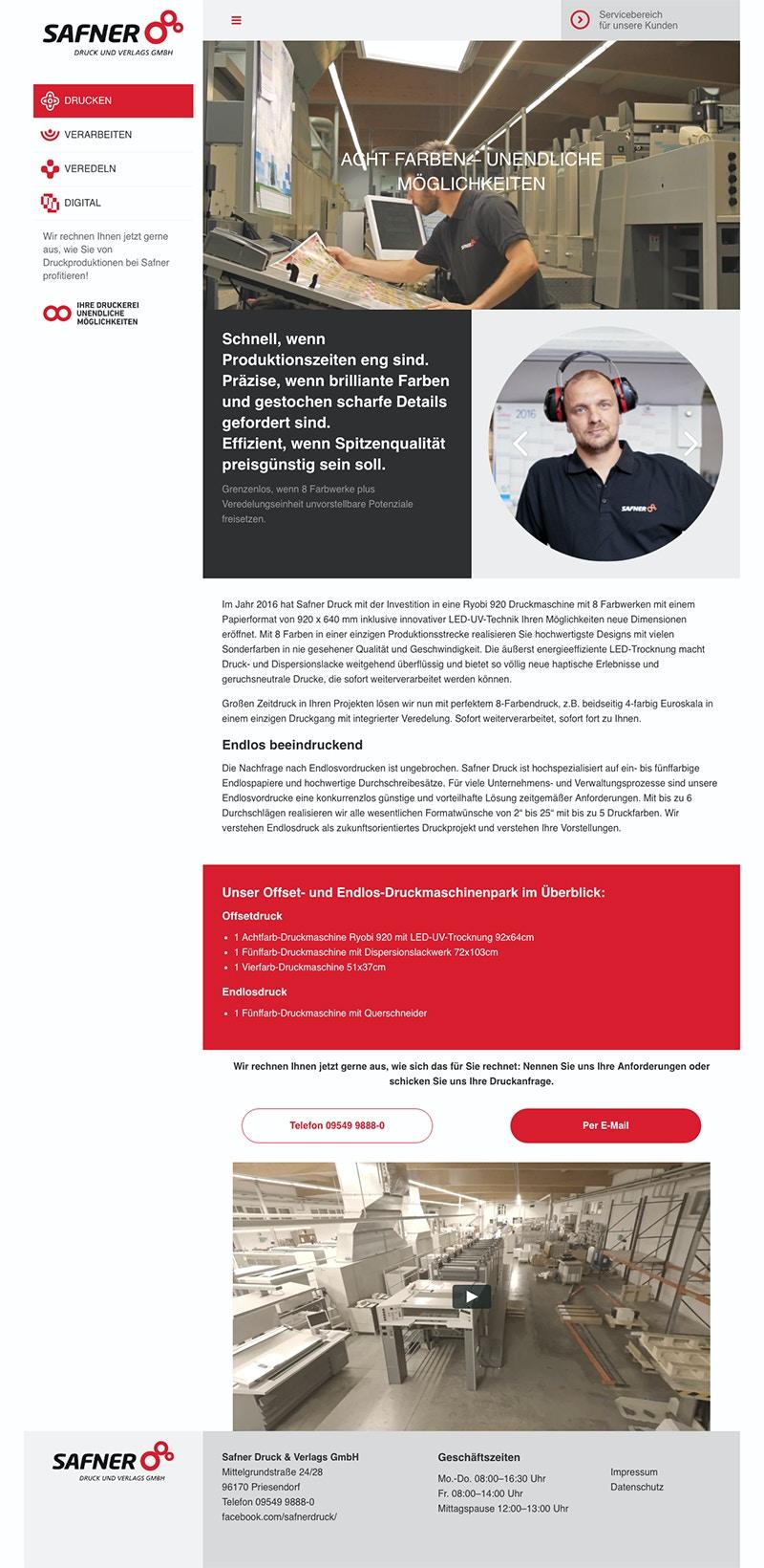 Responsive Webseite für Druckerei mit individuellen Modulen