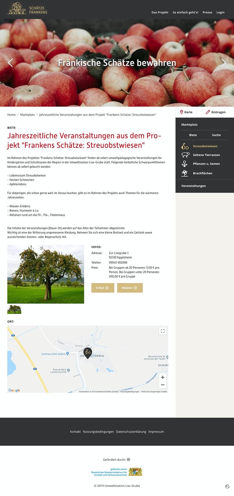 Webseite Netzwerk-Projekt zum Erhalt ur-fränkischen Tieren und Pflanzen