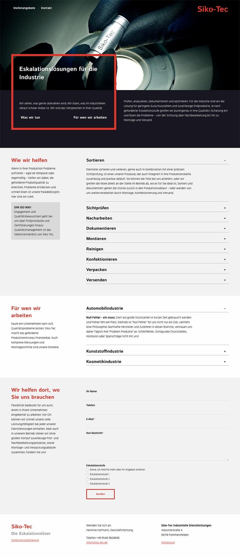 One-Pager Webseite mit speziellen Funktionen